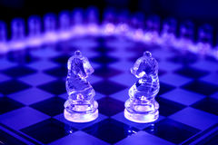 Chess Sets. Two knights in dark blue Stock Images