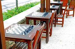 CHess sets outdoors. Image of chess sets for playing outdoors Royalty Free Stock Image