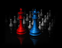 Chess in shadow dark surreal illustration Royalty Free Stock Photos