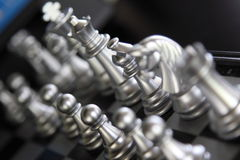 Chess Silver. Silvery chess board game. Great to show strategic movement, decision, business competition Stock Image