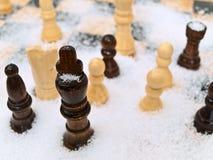 Chess in snow Stock Photos