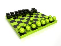 Chess with spheres and cubes Stock Images