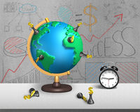 Chess stand on 3d map globe with alarm clock Royalty Free Stock Image