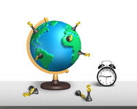 Chess stand on 3d map terrestrial globe with clock Stock Photos