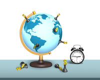 Chess stand on terrestrial globe with clock Stock Photo