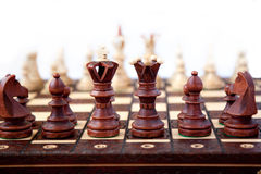 Chess on star. Black chess start the game Royalty Free Stock Images