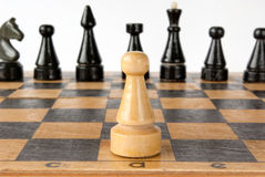 Chess strategy. Chess board with white background Royalty Free Stock Image