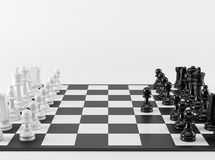 Chess Strategy. The first step. Black and White Chess Strategy. The first step Royalty Free Stock Images