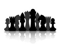 Chess strategy and tactic. Black chess silhouette figures set collection on white background. Items for intellectual strategic chessboard game Royalty Free Stock Image
