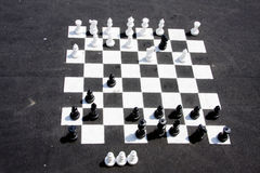 Chess in the street. A giant chess table in the street royalty free stock photography