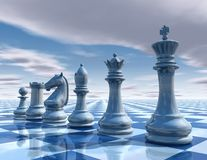 Chess surreal background with sky and chessboard Royalty Free Stock Image