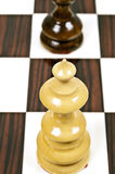 Chess table. White queen closeup on chessboard Stock Image