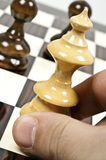 Chess table. Chess pieces closeup on chessboard Royalty Free Stock Photography