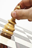 Chess table. White queen closeup on chessboard Stock Images