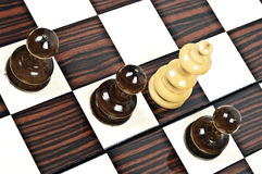 Chess table. Chess pieces closeup on chessboard Stock Image