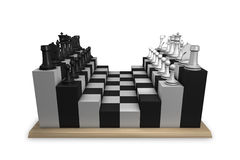 Chess table concept. Unconventional chess table concept isolated on white background Stock Photos
