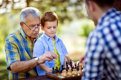Chess on a table in the park Stock Images