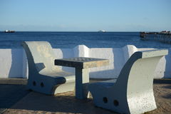 The chess table on the waterfront in the Chilean city of Punta arenas. Royalty Free Stock Images