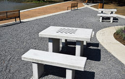 Chess tables and benches outdoors Stock Photography