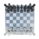 Chess top view isolated on white background. 3d rendering.  Stock Photos