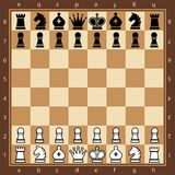 Chess. Top view. Wood chess board with chess pieces. Flat style. Vector illustration Royalty Free Stock Photography