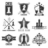 Chess tournament or club vector label icons templates. Chess tournament vector logos or labels templates. Vector  symbols of chessman pieces king and queen, rook Royalty Free Stock Photography