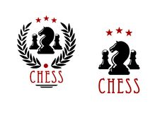 Chess tournament emblems with knights and pawns. Chessman of black knights and pawns in chess tournament emblems design decorated by laurel wreath and stars Stock Photos