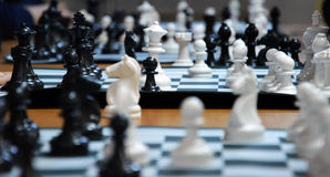 Chess Tournament. A few chess boards at chess tournament Stock Photos