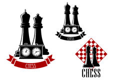 Chess tournament icons with chessmen. Chess tournament icons with black kings and queens behind game clock, decorated by ribbon banner and another variant with Stock Photo