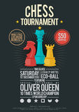Chess Tournament Poster. Vector template illustration of chess tournament poster design element vector illustration