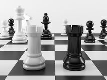 Chess Towers in Confrontation Stock Photos