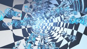 Chess tunnel. Surrealism. 3D render. Chess tunnel vector illustration