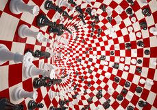 Chess in the tunnel. Chess white and black on the tunnel chess field Stock Image