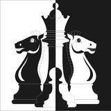 Chess, two horses, Queen and pawn Royalty Free Stock Photography
