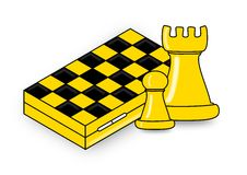 Chess, two pieces and chessboard Royalty Free Stock Photos