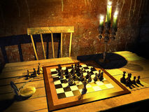 Chess under candles light Stock Photography