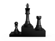 Chess Victory Podium. Black victory podium with chess pieces, first king, second rook, third pawn, isolated on white background Royalty Free Stock Photos