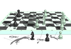 Chess war. The image of war on a chessboard with participation of chessmen Stock Photos