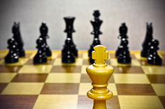 Chess. White king against all. Royalty Free Stock Image