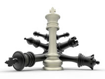 Chess white king dominance concept Royalty Free Stock Photography