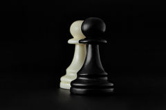 Chess. White Pawn on the board. Set of chess figures. Stock Photography