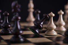 Chess. White pawns vs black Stock Photos