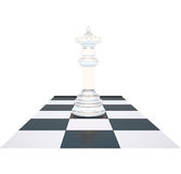 The chess white queen on a chessboard. Stock Photos