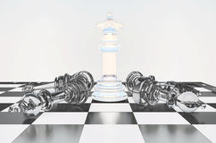 The chess white queen on a chessboard, other chess  lie. Royalty Free Stock Images