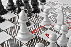 Chess, white`s attack. White board with chess figures on it. Plan of battle Royalty Free Stock Image