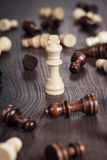 Chess win concept over wooden background. Chess win concept on the wooden background Royalty Free Stock Photo