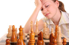 Chess woman hand human white idee Royalty Free Stock Image