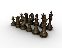 Chess wood figurines illustration Royalty Free Stock Image