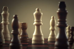 Chess. Wooden chess figures, business concept strategy stock photos