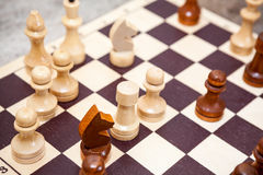 Chess wooden figures in game Stock Image